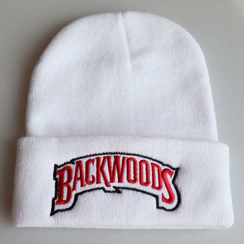 Black Knitted Beanies Backwoods Lettering Cap Women Winter Hats For Men Warm Hat Fashion Solid Hip-hop Beanie Hat Unisex Caps