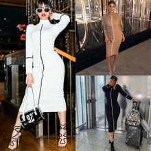 Goocheer HOT Women Fashion Sheath Contrast Color Long Sleeve Temperament Fit Summer Sexy Pencil Dress
