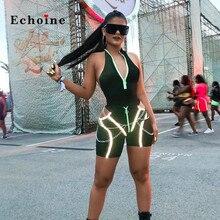 Echoine Women Sexy Jumpsuits Halter V-Neck Sleeveless Bright Lines Short Pants Casual Sportwear Romper Graceful Female Outerwear