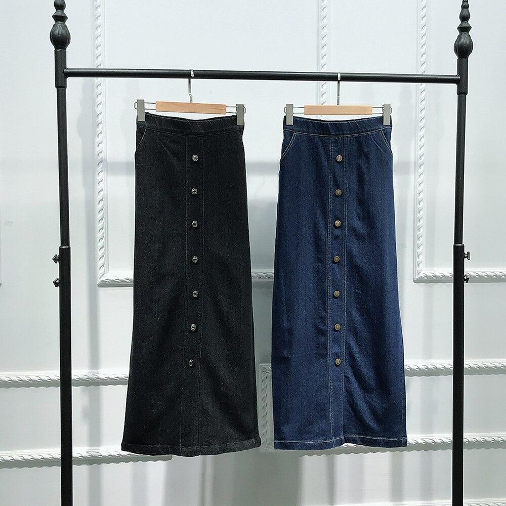Image 4 - Faldas Mujer Moda 2019 High Waist Button Long Denim Skirt Women  Jeans Pencil Bodycon Maxi Skirts Jupe Longue Femme SpodnicaSkirts   -