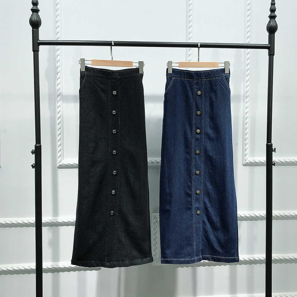 Faldas Mujer Moda 2019 Hoge Taille Knop Lange Denim Rok Vrouwen Jeans Potlood Bodycon Maxi Rokken Jupe Longue Femme Spodnica