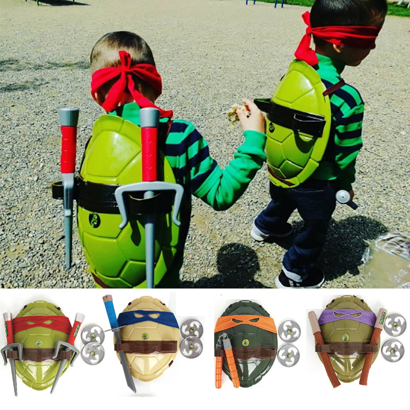 Turtle Armor Turtles Weapons Wearable Mask Shell Suit Children Birthday Party Cosplay Weapon Props Figures