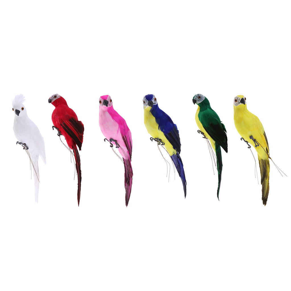 Details about  /Realistic Macaw Parrot Artificial Feather Bird Animal Ornament Garden