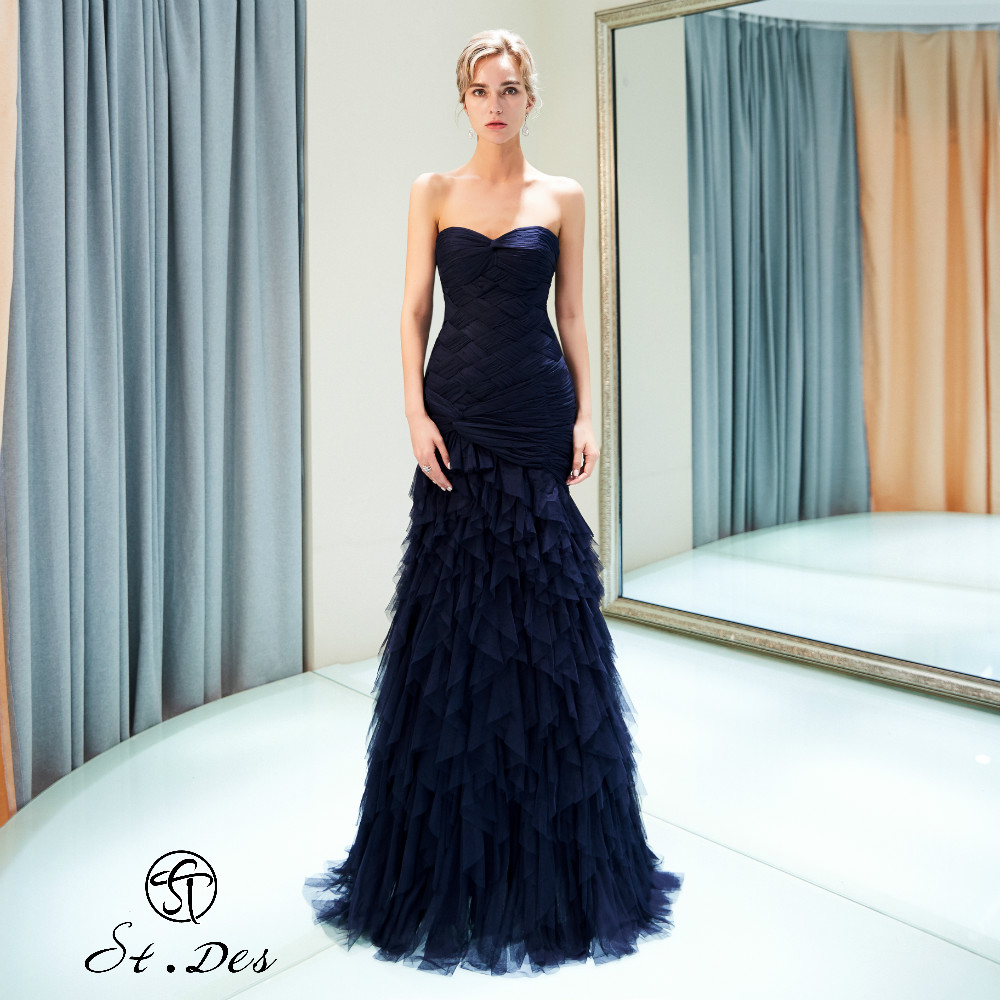 NEW Arrival 2020 St.Des Mermaid Strapless Sleeveless Russian Black Sequins Floor Length Evening Dress Party Dress Party Gown