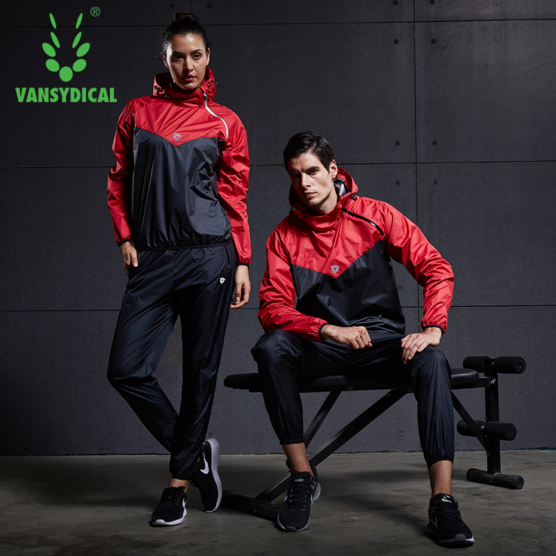Vansydical 2020 esportes terno dos homens ginásio correndo conjunto jogging fitness workout roupas perder peso sudorese sauna esportiva 2 pçs