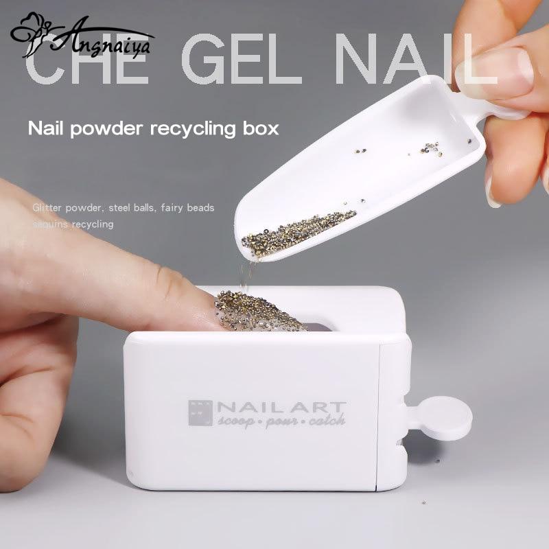 ANGNYA Newest Portable Dipping Powder Magic Mirror Powder Recycling Tray White Nail Sequin Glitter Storage Box Manicure Tools(China)