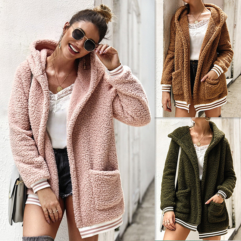 YELITE Lapel Sweatshirt Fleece Fur Coat Women Autumn Winter Warm Soft Hooded Jacket Thick Plush Overcoat Short Tops Outerwear