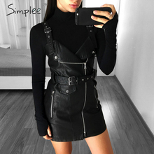 Simplee Fashion PU leather women dress V neck mini bodycon sexy dress Christmas zipper autumn winter