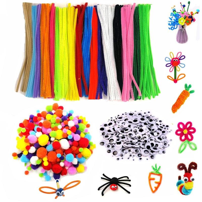 500 stücke Plüsch Vorbauten Bälle Augen DIY Kunst Handwerk Spielzeug Plüsch Stick Pompoms Regenbogen Farben Gefackelt Stick Pädagogisches Kreativität für Kinder