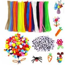 500 pièces en peluche tiges boules yeux bricolage Art artisanat jouets en peluche bâton pompons arc-en-ciel couleurs Shilly-Stick créativité éducative pour les enfants