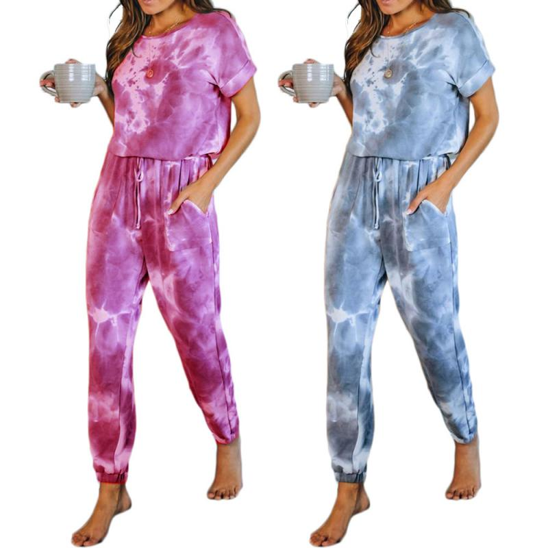 Tie Dye Jumpsuit Short Sleeve Shirt Suits Casual Tie Dye One Piece Pants With Pocket Women's T-shirt Tie Dye One Piece Pants