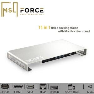 Настольная подставка для монитора компьютера с многофункциональной 11 в 1 USB C док-станцией Для iMac MacBook гаджеты для ноутбуков