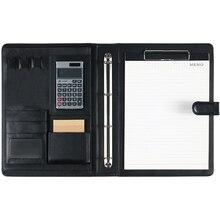 Portefeuille de dossier de présentation de bloc notes A4 en cuir dunité centrale avec la calculatrice pour lipad daffaires/classeur de cv dentrevue de Table