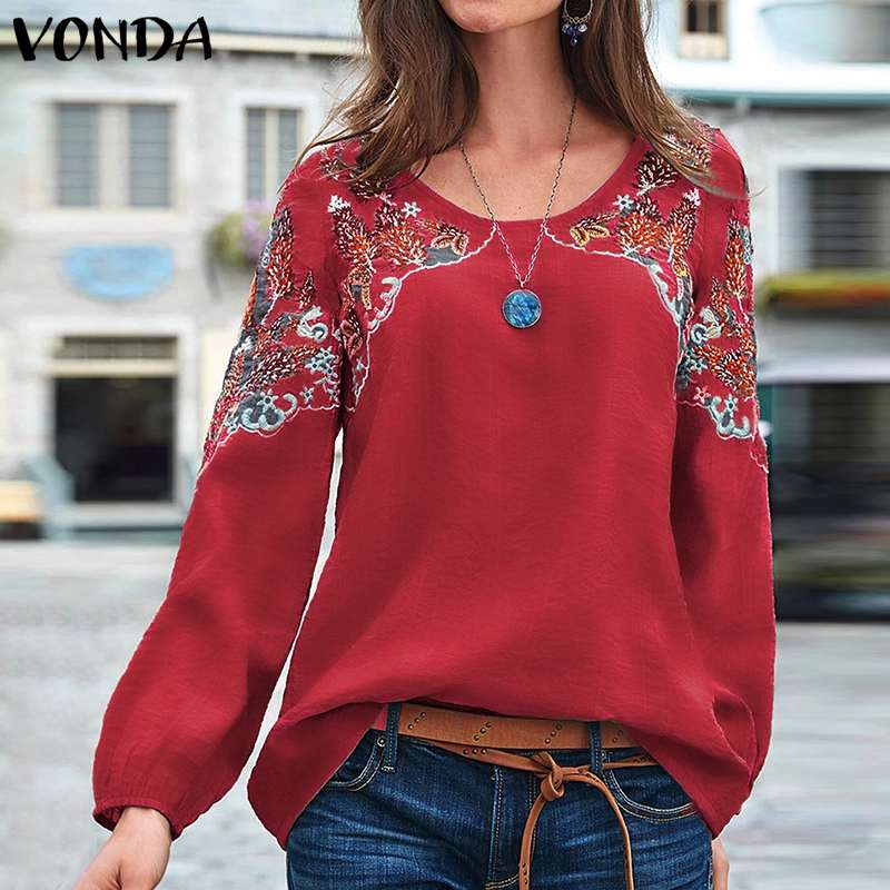 VONDA Autumn Blouses Women Casual O Neck Vintage Printed Long Sleeve Party Shirts Femme Spring Tops Oversized Bohemian Blusas