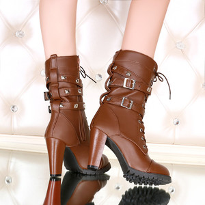 Image 5 - Morazora 2020 nova chegada botas de tornozelo feminino dedo do pé redondo sapatos de salto alto zip rendas até rebite outono botas de inverno feminino tamanho grande 48