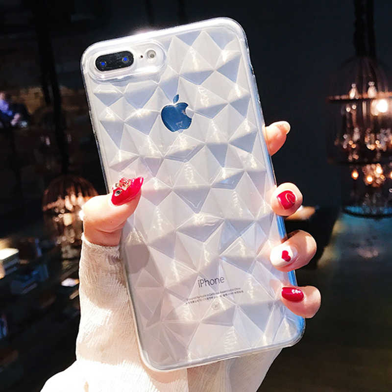 3D Diamond Slim Soft Gel Tpu Telefoon Geval Voor Voor Iphone 6 6 S 7 8 Plus X Xr Xs 11 Pro Max Cover Transparante Ultra Dunne Shell Funda
