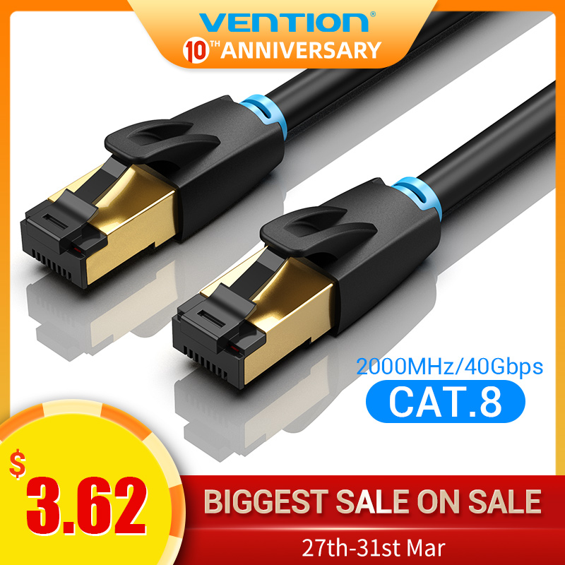 Vention Ethernet Cable Cat 8 Network Cable High Speed 40Gbps SSTP Wire Internet Patch Cable With RJ45 Connector For Router Modem