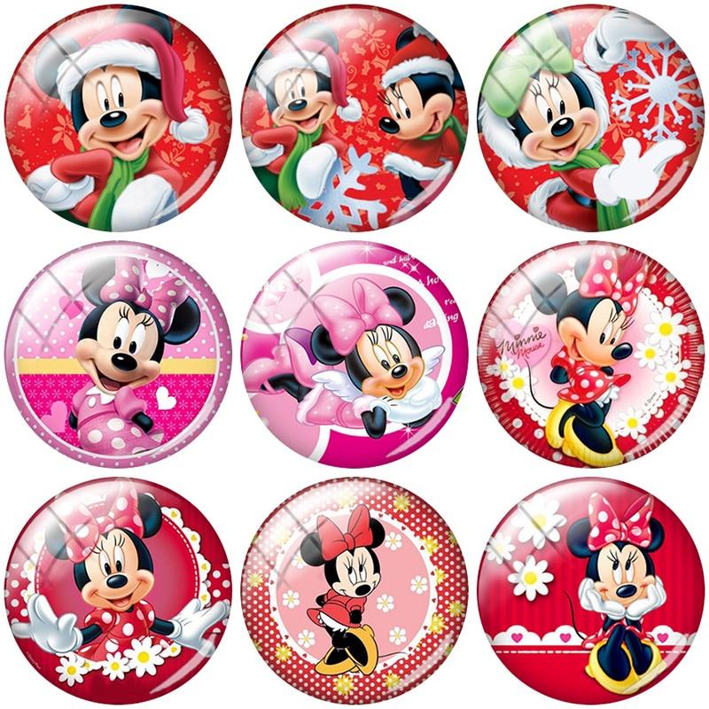 TAFREE Mickey And Minnie Mouse Christmas 12/15//16/18//20//25 mm Glass Cabochon Dome Flat Back DIY Jewelry Making TQ414(China)