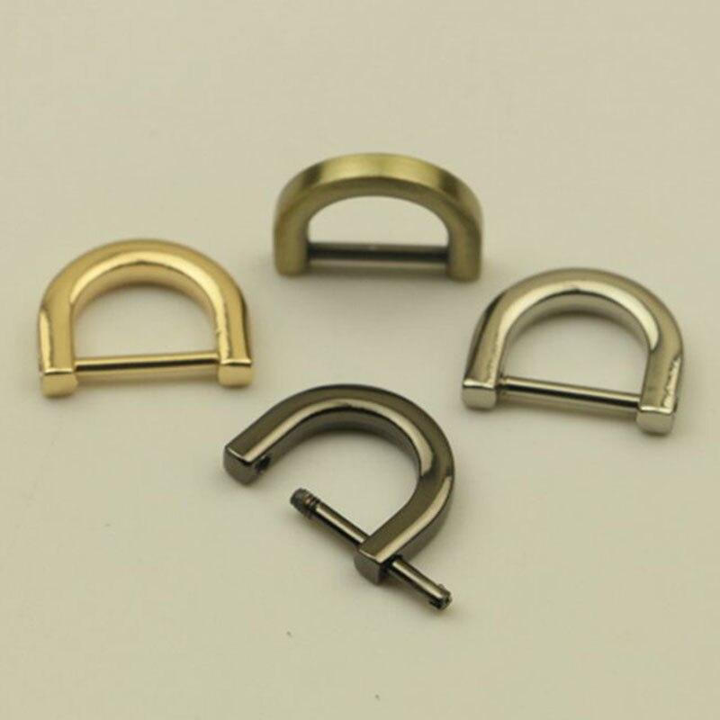 1.2/1.5CM 1PC Metal Detachable Open Screw Clasp Bag Strap Belt D Ring Buckle For Leather Craft Bag Strap Handle Shoulder Webbing
