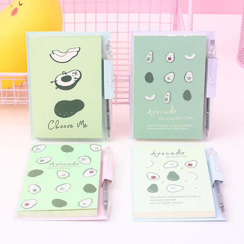 1 Pcs Cartoon Fruit Avocado Pattern Mini Portable Notebooks With Ballpoint Pen Loose Leaf To Do List Notepad Stationery Gifts