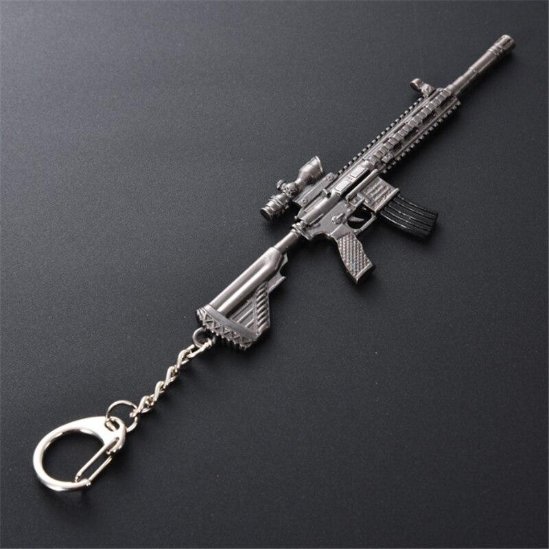 PUBG Jedi Sobrevivência Paz Elite Comer Frango 98K Gun Arma Modelo Jogo Jogo Periféricos Chaveiro 12cm