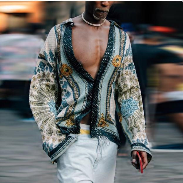 Man Shirt Mens Ethnic Printed V-Neck Cotton Linen Stripe Shirt Men Men's Clothings Men's Shirts Men's Tops