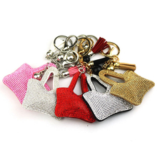 New creative velvet bag shape keychain car accessories hanging pattern key chain jewelry