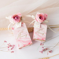 50pcs Wedding Favors Candy Box Baby Shower Marble Paper Gift Box Craft Candy Food Best Gift Bag For Christmas Flower boxes