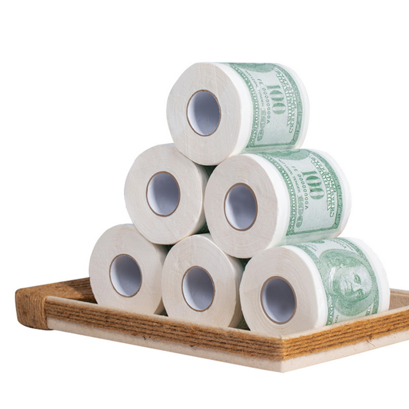 Hot Donald Trump $100 Dollar  Humour Toilet Paper Bill Toilet Paper Roll Novelty Gag Gift Dump Trump Funny Gag Gift 6pcs