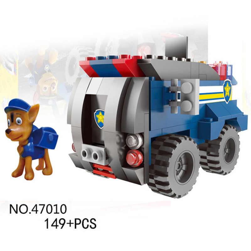 PAW patrol สุนัขทีมบล็อกของเล่นเด็กปลั๊กปริศนาของเล่น Patrulla Canina Chase Marshall Ryder รถเด็กของเล่น