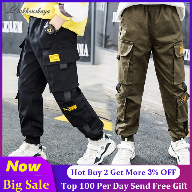 Spring Brand Kids Boys Pants Cotton Solid Cargo Pants  4-15 Year 1