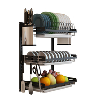 3 Tiers/2 Tiers Stainless Steel Adjustable Wall Mounted Bowl Drain Rack Hanging Drying Dish Storage Shelf Set Kitchen Organizer