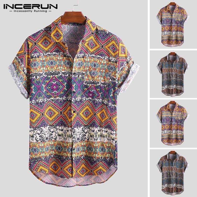 INCERUN Men Hawaiian Shirt Short Sleeve Ethnic Print Casual Blouse Loose Vintage Beach Shirt Men Camisa Masculina Plus Size 2021