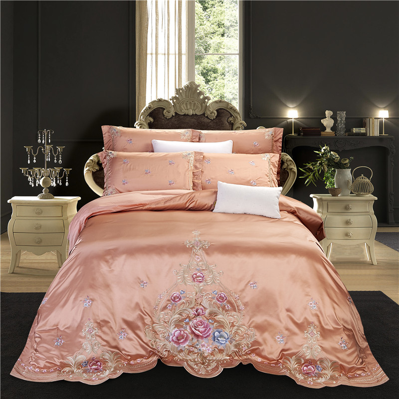 Luxury Embroidery Flowers Duvet Cover Set Satin Like Silk Rich Silky Queen King Bedding Set Pillowcase Quilted Cotton Bed Spread