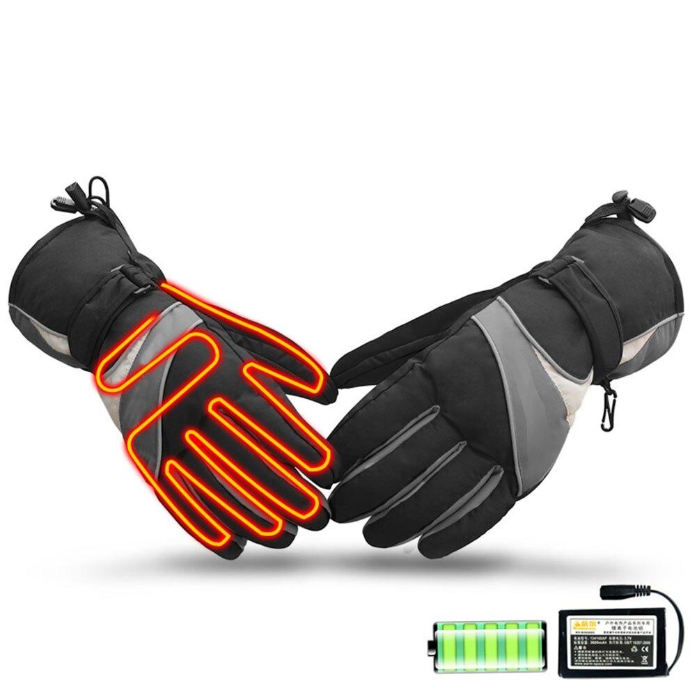 1 paire batterie alimenté chaud accessoires gants de ski imperméable neige Sports plein air USB Rechargeable électrique chauffé protecteur