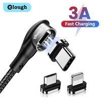 Elough – câble magnétique 3A coudé Micro USB/type-c USB-C pour recharge rapide et transfert de données, cordon de chargeur USB-C pour téléphone iPhone, Huawei, Xiaomi, Poco X3
