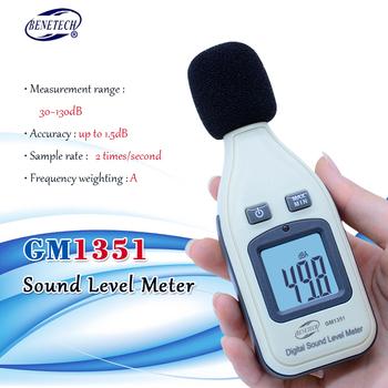 BENETECH GM1351 cyfrowy miernik poziomu dźwięku decybeli rejestrator Tester 30-130dB poziom hałasu w decybelach LCD analizator Tester tanie i dobre opinie NoEnName_Null 30 ~ 130dB Digital Sound Level Meter noisemeter GM1351 30dBA~130dBA -1 5 dB - +150dB 31 5Hz~8 5KHz 9V battery(Not included)