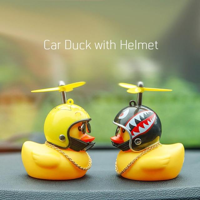 Car Duck with Helmet Broken Wind Small Yellow Duck Road Bike Motor Helmet Riding Cycling Car Accessories Decor Without Lights 3