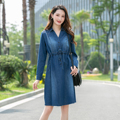 Women Dress Denim New 2021 Cotton Comfortable Casual Long Sleeve V Neck Fashion Classic Elegant Autumn Winter