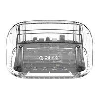 Orico 6239u3 2.5/3.5 polegada 2 baía gabinete de disco rígido transparente usb3.0 suppot uasp 24 tb hdd dock station com adaptador