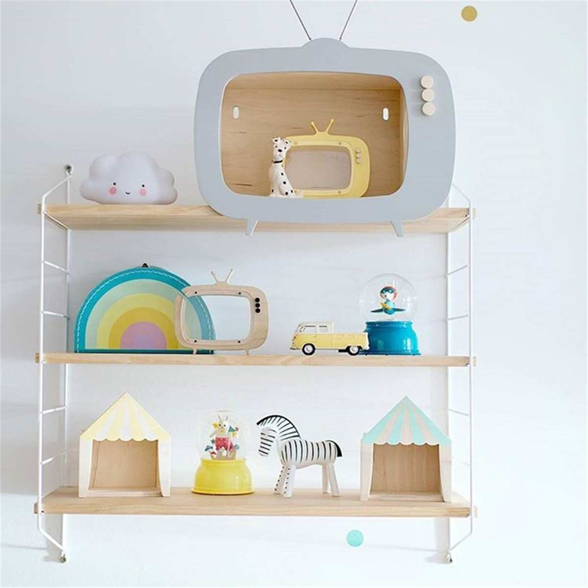 Nordic Metal Wall Shelf Wall Decor Shelf Kids Room Wooden Hanging Shelf 3 Tier Wall Display Rack DIY Wall Decoration Holder Pink