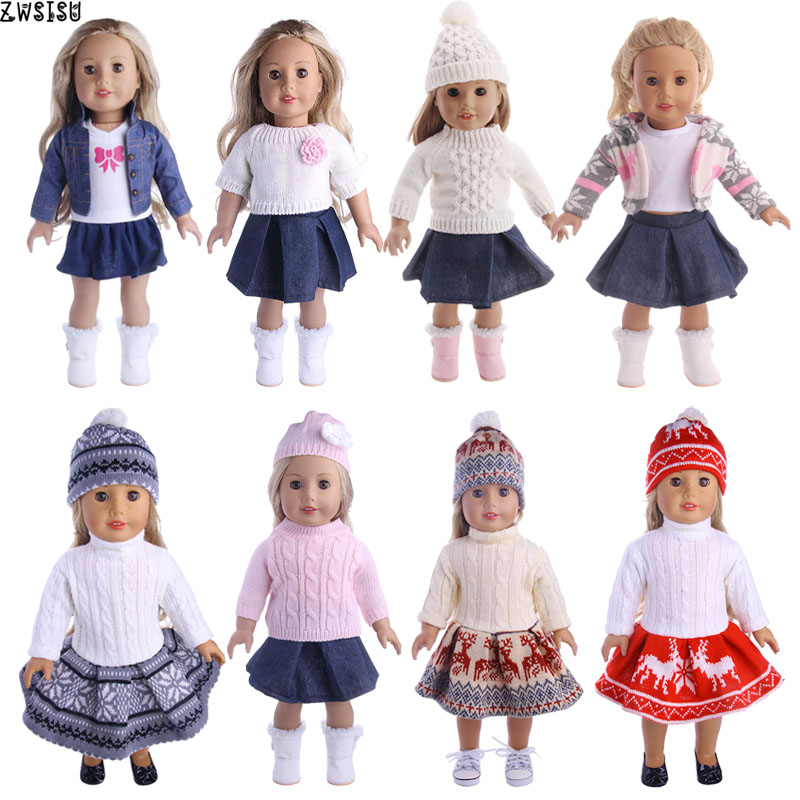 Doll Clothes 3pcs/Set T-shirt/Hat+Knitted Sweater+Skirt Suit For 18 Inch American &43 Cm Born Baby Doll Generation Christmas Toy