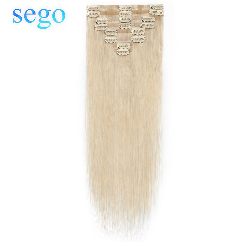 SEGO 60g-80g PU Skin Weft Tape In Clip In Hair Extensions 8Pcs/Set 100% Real Non-Remy Human Hair Clips In Straight Natural Color