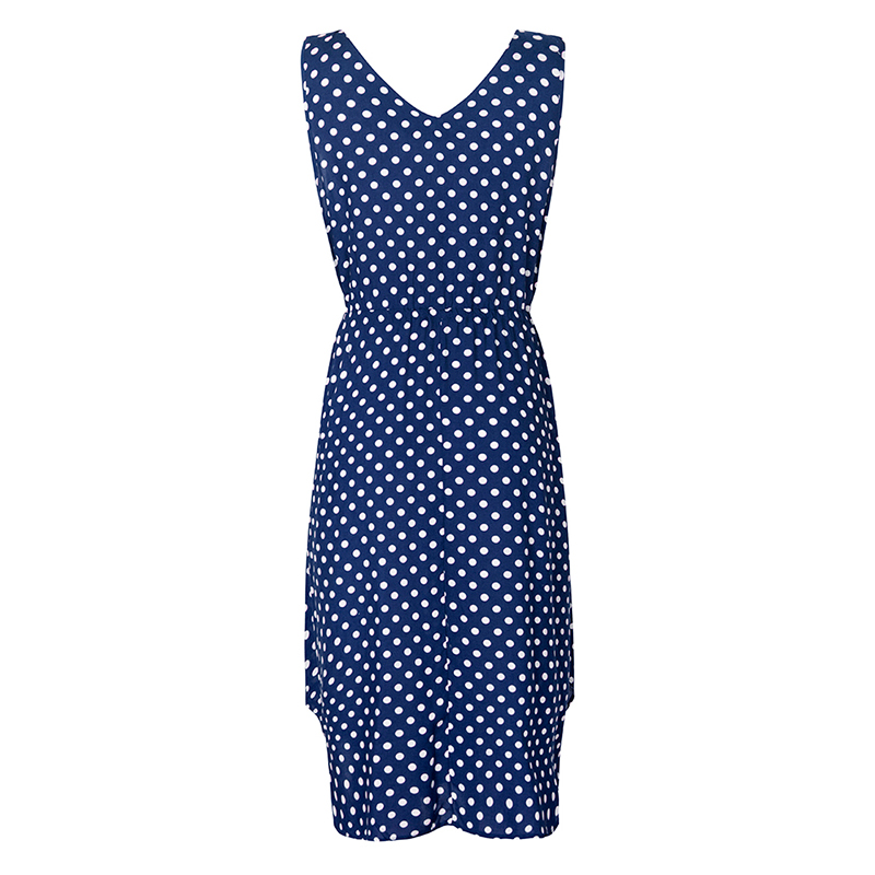 women dot printed causal dress 2020 summer sleeveless v neck with buttons pockets high waist casual office ladies vestidos mujer 5