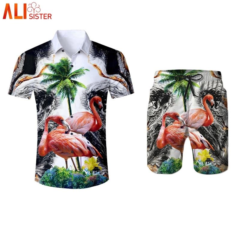 Alisister Flamingos Print Hawaiian Style Shirts And Shorts Men's Summer 2 Pieces Set 3d Trousers Tuxedo Shirt Camisa Masculina