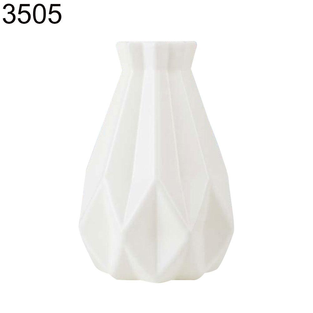 Пластиковый Небьющийся цветочный горшок ваза Современная Кабинет Прихожая Свадьба домашний офис Декор Настольная Ваза - Цвет: Milk White 3505