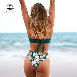 Image 2 - CUPSHE zielona pofalowaną krawędzią drukowane dolne zestawy Bikini Sexy zasznurować strój kąpielowy strój kąpielowy dwuczęściowy kobiet 2020 kostiumy kąpielowe plażowe