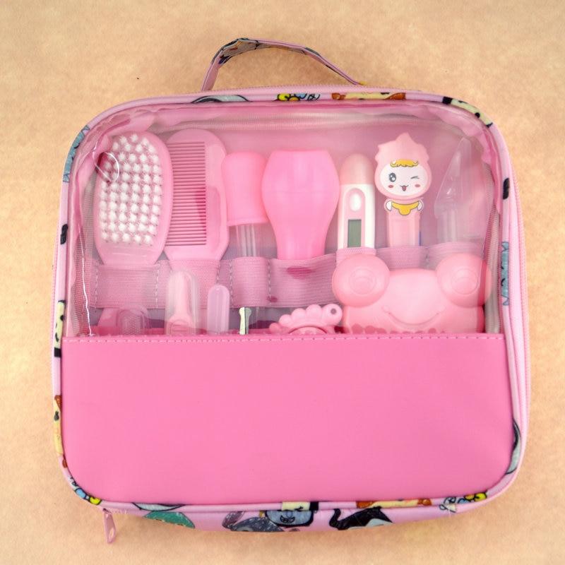 Детский комплект для ухода за здоровьем, комплект для ухода за новорожденным ребенком, комплект для ухода за ребенком, термометр, ножницы для стрижки, детские туалетные принадлежности для малышей - Цвет: pink 13PCS
