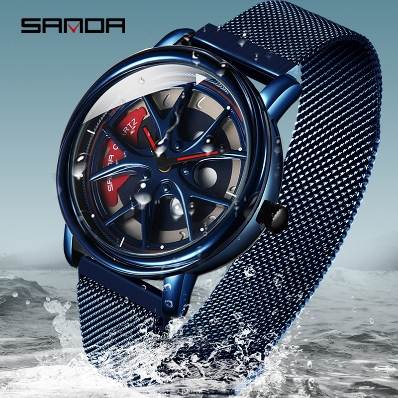2020 SANDA Hot Sell Quartz Movement Men Watch Life Waterproof Creative Wheel Rotating Dial Magnet Clasp Relogio Masculino 1025