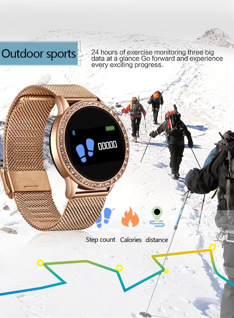 Reloj inteligente LIGE para mujer con monitor, seguidor Fitness de frecuencia cardíaca y presión arterial 6